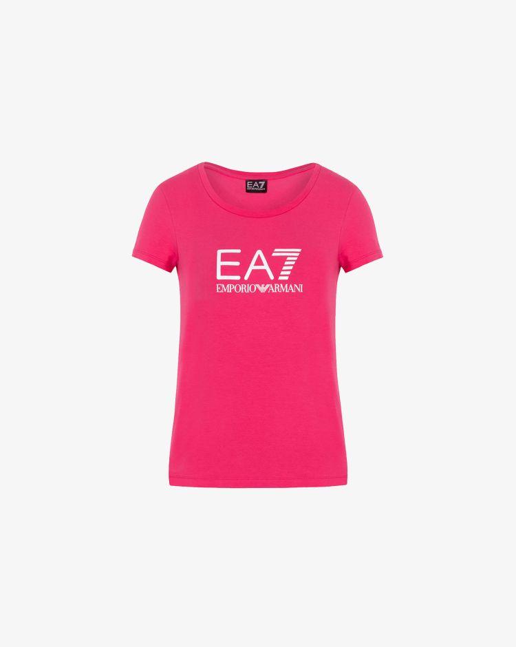 Emporio Armani T-shirt in jersey stretch con maxi-logo Donna
