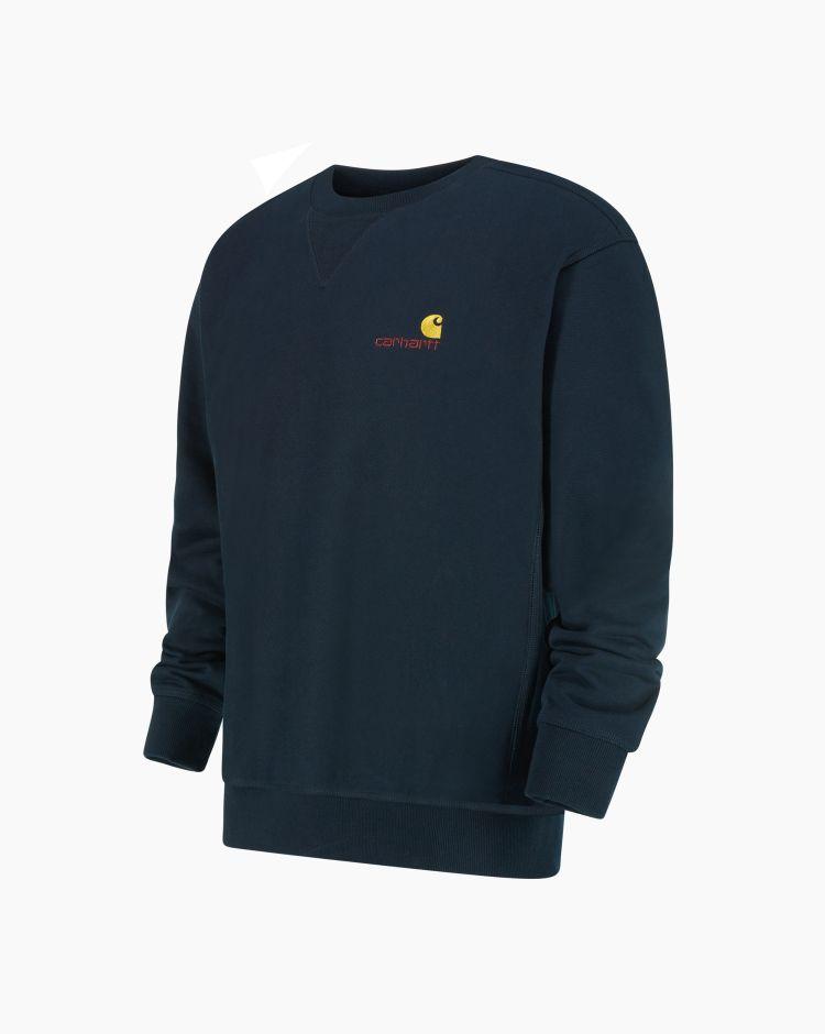 Carhartt American Script Sweatshirt Blu Uomo