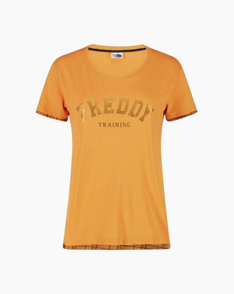Freddy Training T-Shirt Bordini Giallo Donna