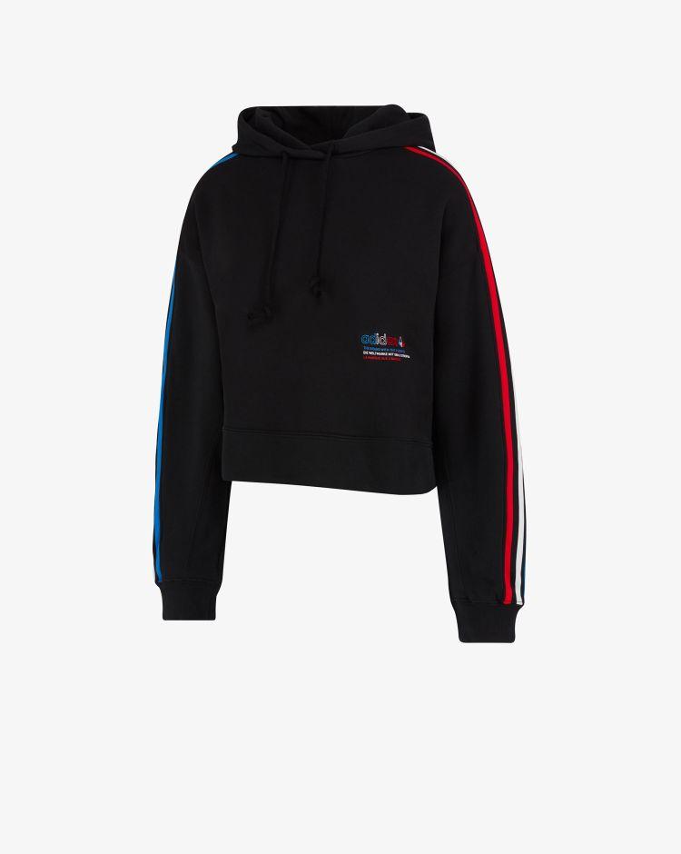 Adidas Originals Felpa Adicolor Tricolor Trefoil Crop Donna