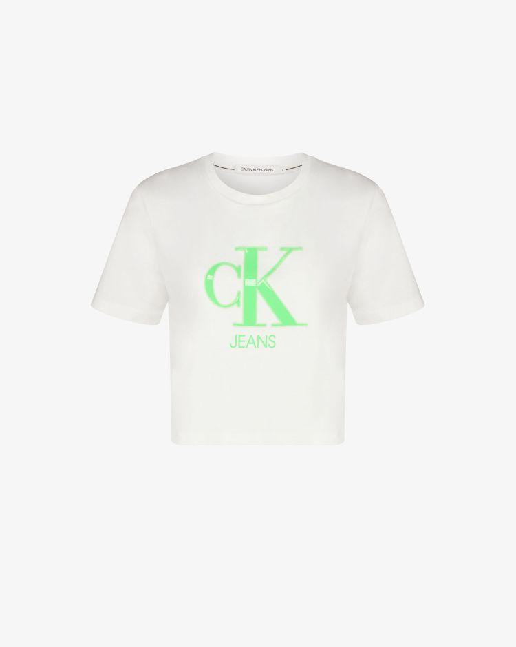 Calvin Klein T-shirt crop con logo Neon Donna