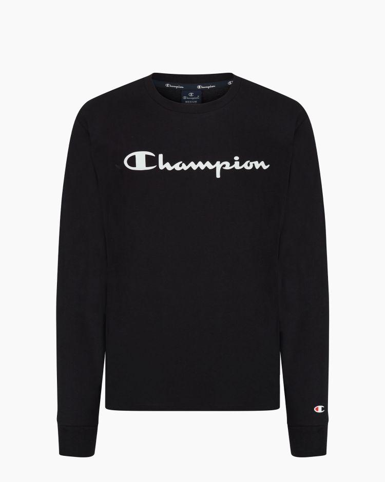 Champion T-shirt a maniche lunghe con logo Nero Uomo