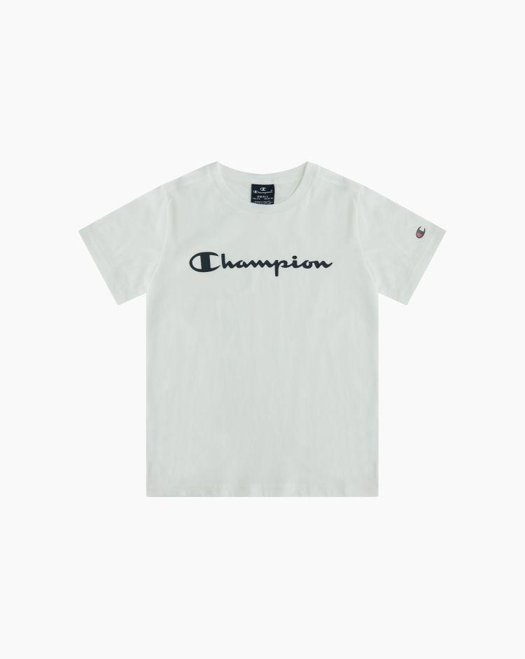 Champion T-shirt girocollo con logo Bianco Bambino