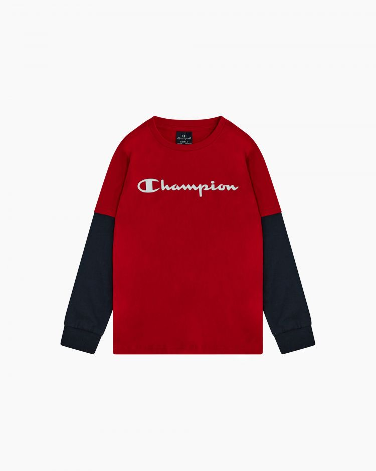 Champion T-shirt girocollo effetto sovrapposto Rosso Bambino