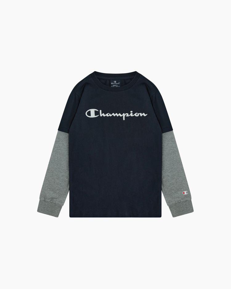 Champion T-shirt girocollo effetto sovrapposto Blu Bambino