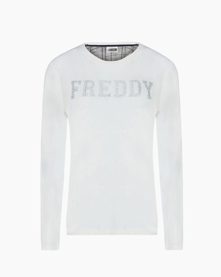 Freddy Training Ls T-Shirt Logo Bianco Donna