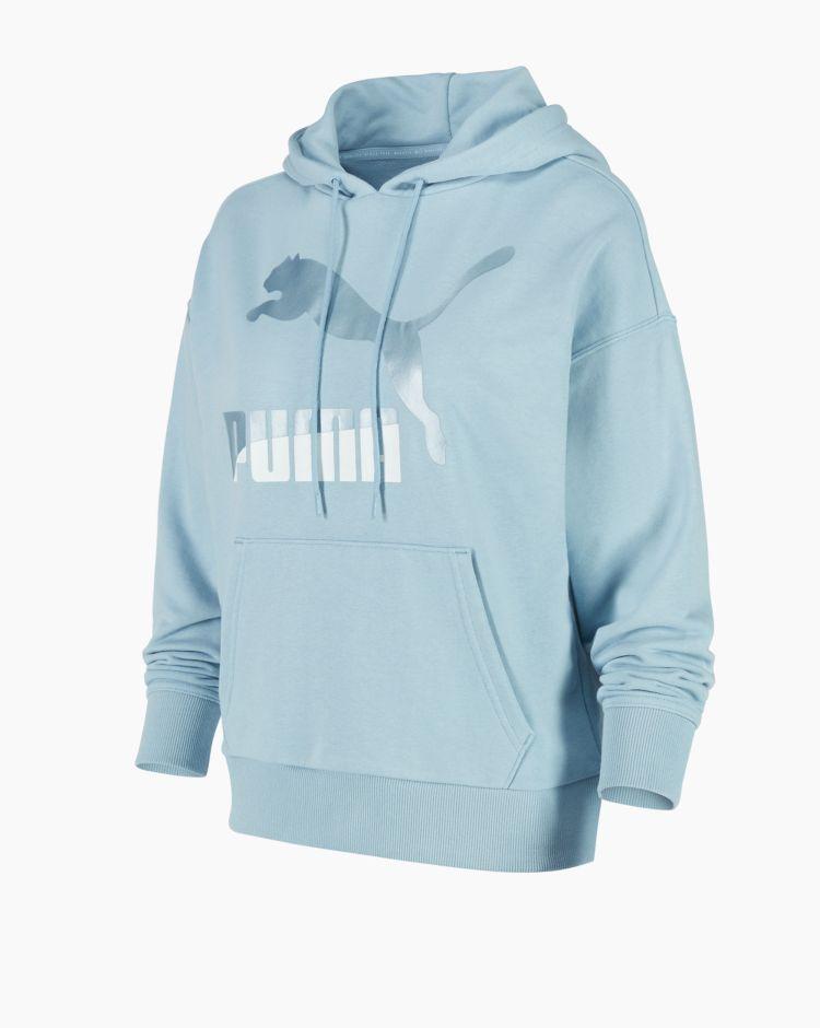 Puma Classics Logo Hoodie Blu Donna