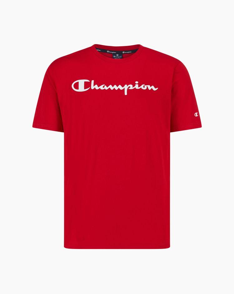 Champion T-shirt in cotone con logo Rosso Uomo
