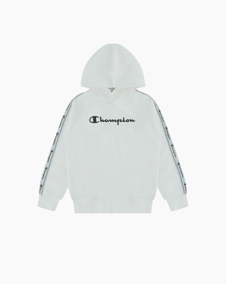 Champion Felpa con cappuccio logo-tape Bianco Bambina