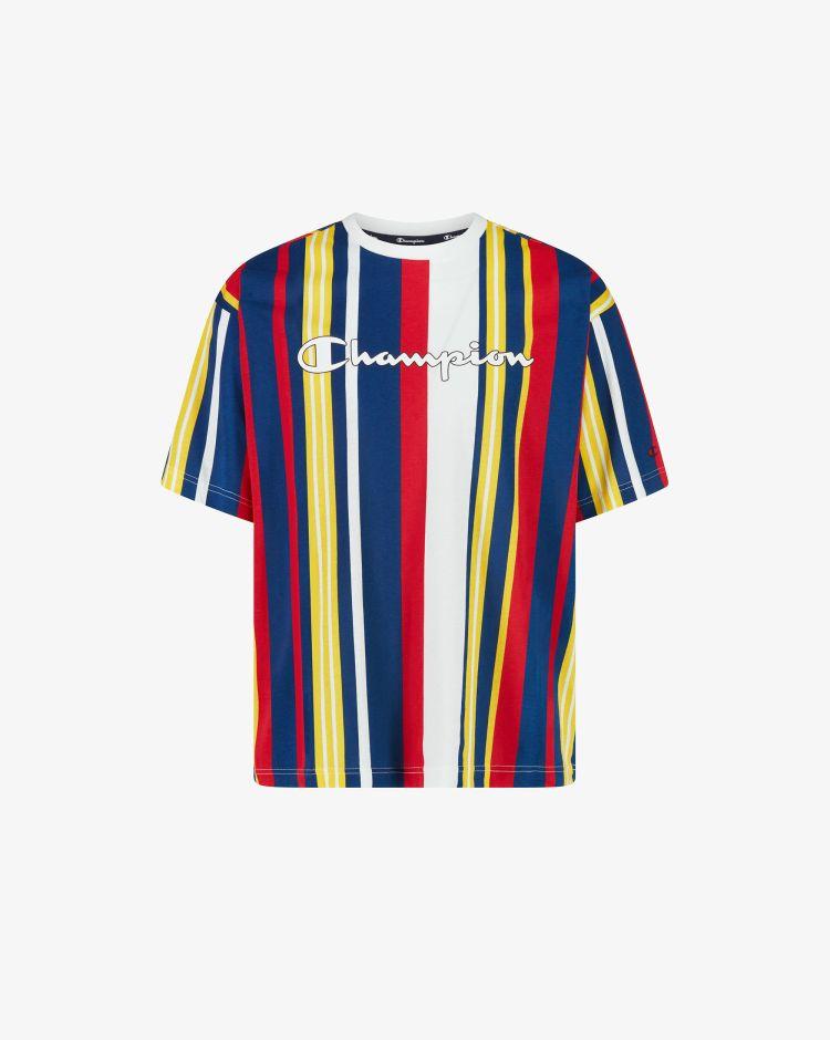 Champion T-shirt con stampa a righe e logo Uomo