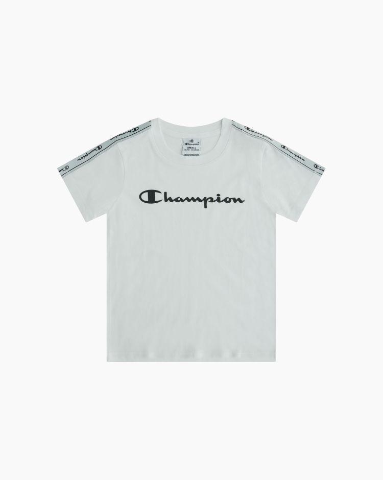 Champion T-shirt girocollo con logo-tape Bianco Bambina