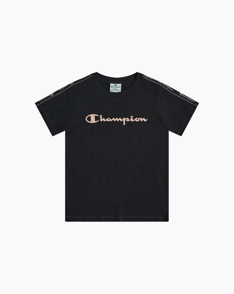 Champion T-shirt girocollo con logo-tape Nero Bambina