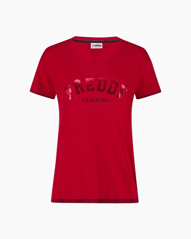 Freddy Training T-Shirt Bordini Rosso Donna
